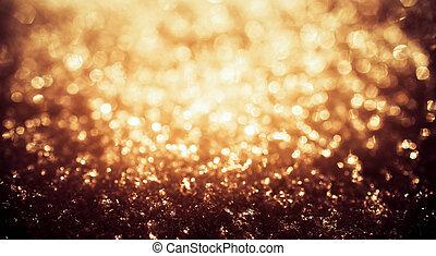 金, 輝き, ライト, 凍らせられた, 雪, bokeh