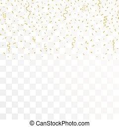 金, 金, バックグラウンド。, ベクトル, 紙ふぶき, リボン, 透明