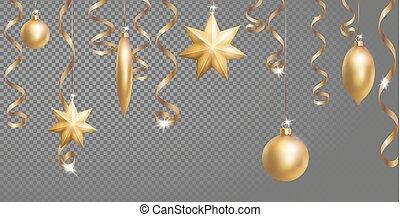 金, 金, 年, 装飾, デザイン, おもちゃ, ボーダー, template., element., モミ, seamless, 透明, streamer., きらめき, 新しい, クリスマス, 3d, ボール, 星, イラスト, 格子, 旗, 銀, 蛇紋岩, 木, 現実的, ベクトル