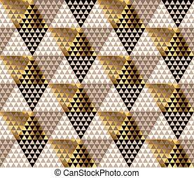 金, 金, triangles., パターン, 抽象的, seamless, 表面, バックグラウンド。, ベクトル, 黒, 贅沢, 幾何学的, 白, design.