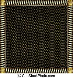 金, 銀のようである, trellised, frame.