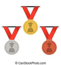 金, 銀, 以及, 青銅, medals.