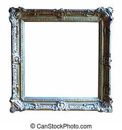 金, 隔離された, 古い, 白, 上に, frame.
