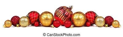 金, 隔離された, 白, ボーダー, クリスマス, 赤