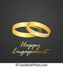 金, 隔離された, 背景, 結婚指輪, 透明