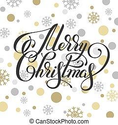 金, 雪片, 書かれている手, 陽気, カリグラフィー, クリスマス