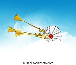 金, 雲, ビジネス, goal., -, 矢, dollar., darts.