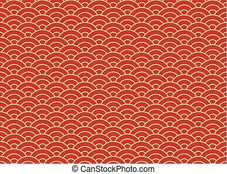 金, 雲, 中国語, パターン, 装飾,  seamless, 伝統的である, 背景, 東洋人, 赤