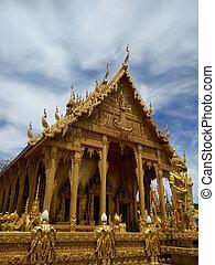 金, 顏色, 教堂, ......的, wat, 泰國