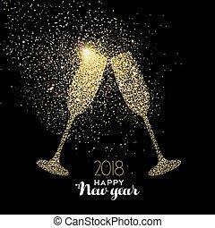金, 飲みなさい, 年, 新しい, ほこり, パーティー, きらめき, カード, 幸せ