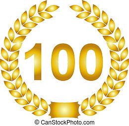 金, 100, 花輪, 月桂樹, 年