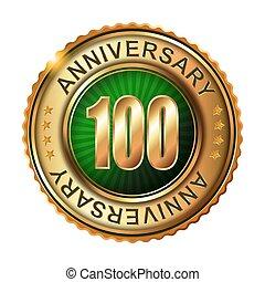 金, 100, 記念日, label., 年
