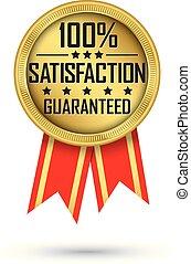 金, 100%, guaranteed, イラスト, 満足, ベクトル, ラベル