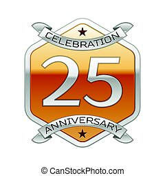 金, 20, 装飾, 記念日, 年, バックグラウンド。, 5, リボン, ロゴ, 白, 六角形, 銀, 祝福