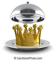 金, 3d, 王冠, 銀 版