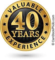金, 40, 経験, 年, ベクトル, ラベル, イラスト, 貴重である