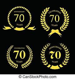 金, 70, ベクトル, 黒, サイン, 月桂樹, 記念日, セット, 年, イラスト, バックグラウンド。