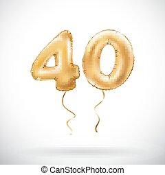金, balloons., 金属, balloon., 数, 40, カーニバル, 装飾, 記念日, year., ...