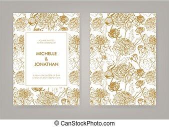 金, card., 縦, 招待, 日本語, 菊, ベクトル, 結婚式, モノクローム, illustration.