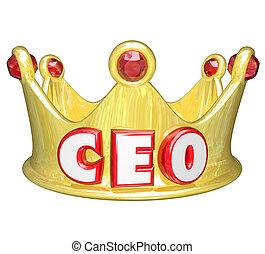 金, ceo, 定規, 上, 経営者, 王冠, 責任者, 士官, 言葉