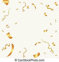 金, checkered, お祝い, 隔離された, イラスト, バックグラウンド。, ベクトル, 紙ふぶき