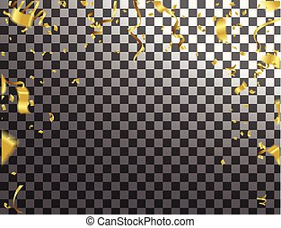 金, checkered, 金, お祝い, リボン, きらめき, イラスト, 背景, ベクトル, 紙ふぶき, パーティー, 落ちる, 光沢がある, 透明, celebration.