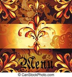 金, colors.eps, メニュー, heraldic, de, fleur, デザイン, lis