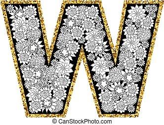 金, contour., アルファベット, 手, 手紙, w., 花, 引かれる, design., きらめく
