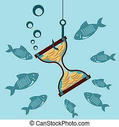 金, fish., コイン, お金。, 水, ホック, 時間, 損失, 下に, 砂時計