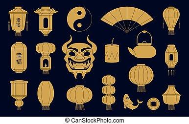 金, fish, ベクトル, silhouettes., 陶磁器, シンボル, 中国のドラゴン, マスク, 伝統的である, イラスト, ペーパー, お祝い, コイン。, ランタン, アジア人