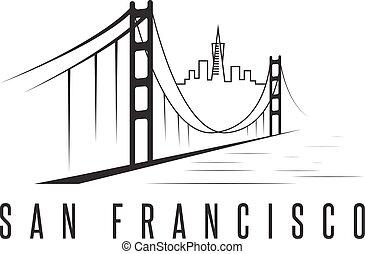 金, francisco, san, 橋, イラスト, スカイライン, ベクトル, デザイン, テンプレート, 門