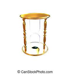 金, hourglass., イラスト, 3d
