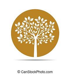 金, icon., ベクトル, 木, illustration.