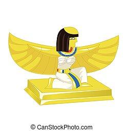 金, illustration., エジプト人, ファラオ, 隔離された, 小立像, バックグラウンド。, ベクトル, 白