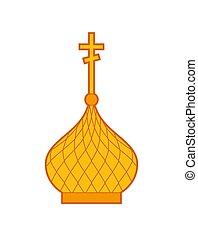 金, isolated., ドーム, イラスト, 宗教, ベクトル, 教会