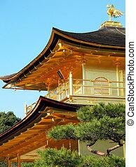 金, kinkakuji, の上, 屋根, 寺院, 上, 終わり, 日本, 鳥