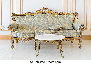 金, livingroom, クラシック, ライト, details., 優雅である, 色, 贅沢, 内部, 家具