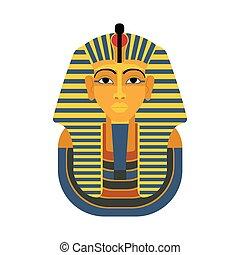 金, mask., pharaon., tutankhamun, エジプト人, 有名, ベクトル, pharaon