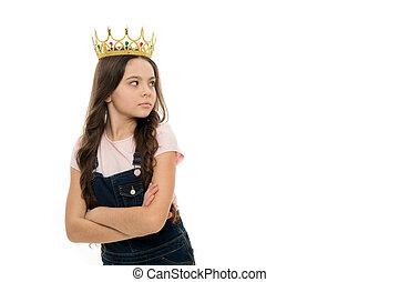 金, me., 王冠, 夢を見ること, princess., 女の子, わずかしか, concept., バックグラウンド。, 白, 誇り, 自己中心, シンボル, だれも, あらゆる, ウエア, 王女, child., 子供, 同輩, だめにされる, なる