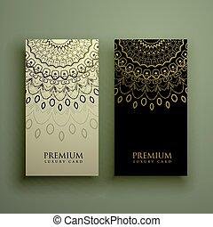 金, ornamanetal, 色, 装飾, デザイン, mandala, カード