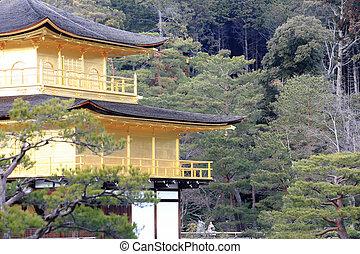 金, pavilion), 寺院, kinkakuji, (the