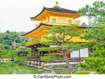 金, pavilion), (the, kinkakuji, 京都, 日本, 寺院