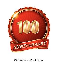 金, ribbon., 記念日, 年, 100, ラベル
