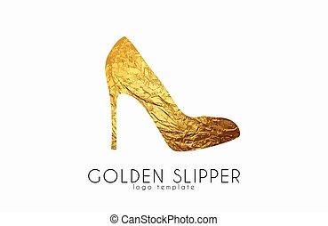 金, slipper., スリッパ, 優雅である, ファッション, ロゴ, 王女, design.