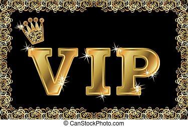 金, vip, ベクトル, 王冠, カード