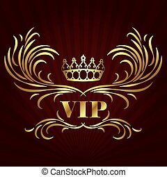 金, vip, 王冠, カード, デザイン