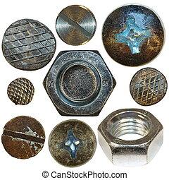 釘子, 螺絲, 頭, 金屬, 被隔离