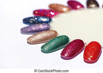 釘子, 顏色, 清漆, 樣品, 盤子