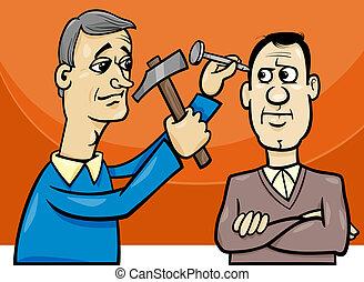 釘, 頭, 衝突, 漫画