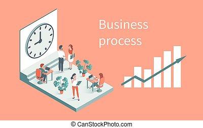 針對, 工作, 背景, 辦公室, clock., 人們